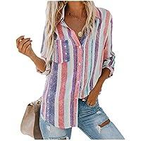 neveraway Women Stripes Button Down Long Sleeve Casual T-Shirt Tops Blouse