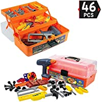 46-Pieces Deluxe Kids Pretend Play Toy Tool Box with Power Tools Set - Construction Workshop Toolbox STEM Toys