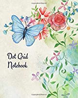 """Dot Grid Notebook: Blue butterfly & flowers; 100 sheets/200 pages; 8"""" x 10"""""""