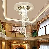LEDモダン透明ガラスクリスタルペンダントシャンデリア回転階段ライトクリスタルシャンデリアクローム仕上げガラスドロップレット