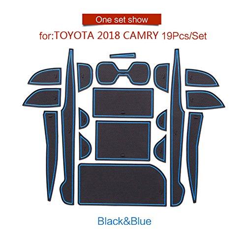 『に適用する トヨタ カムリ 10代目専用 ドアポケットマット コンソールマットフロアマット 内 内装 ドレスアップ アクセサリー カ CAMRY (2018) 青/赤/光沢のある白/黒 19P (青)』の3枚目の画像