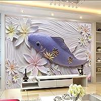 Wuyyii 3D花エンボス壁金魚エンボス砂岩壁画カスタム大壁画グリーン壁紙-250X175Cm