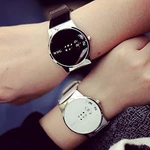 【ノーブランド品】腕時計 時計 ペアウォッチ セット ビック デザインフェイス 窓 レザーベルト BKWH