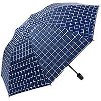 非自動ポータブル軽量チェック模様フォールディングレイン/日焼け防止アンチUVコーティング全天候型傘乗り物傘 (青)