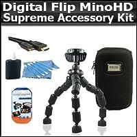 最高のアクセサリキットデジタル反転MinoHDビデオカメラ2nd Generation m2120& The新しいフリップSlideHD s1240Wパッケージには、ハードシェル携帯ケース+ HDMIケーブル+柔軟なGripster三脚+ More