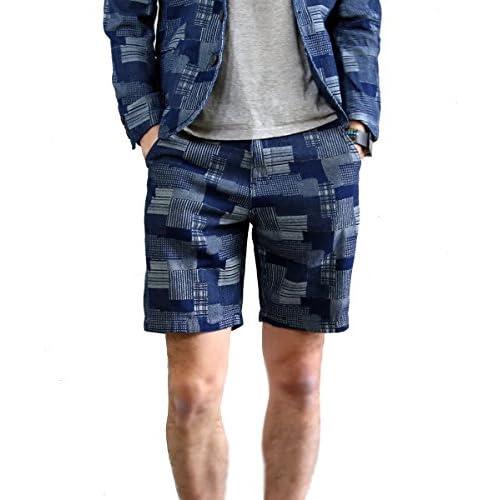 【grn】(ジーアールエヌ) メンズ パッチワーク デザイン ジャガード デニム 膝上丈 ショートパンツ おしゃれ ショーツ ハーフパンツ バミューダ カジュアル チェック柄 インディゴ プレッピー 春 夏 インディゴ 2(M)