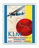 アムステルダム~ジャカルタ(バタビア) - オランダ東インド - KLM(ロイヤルオランダ航空) - ビンテージな航空会社のポスター によって作成された エマニュエル・ルイ・ジョゼフ・ゲラール c.1930s - アートポスター - 41cm x 51cm