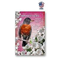 同一のポストカード20枚セット 鳥と花をつなぐ CT 州 シンボル ポストカード アメリカ製。