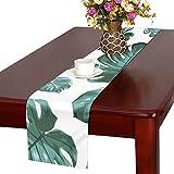 KDGCH テーブルランナー 植物 モンステラ クロス 食卓カバー 麻綿製 欧米 おしゃれ 16 Inch X 72 Inch (40cm X 182cm) キッチン ダイニング ホーム デコレーション モダン リビング 洗える