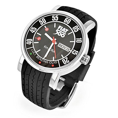 Fiat 500 fiww02腕時計メンズラバーブラック44 mmカレンダー