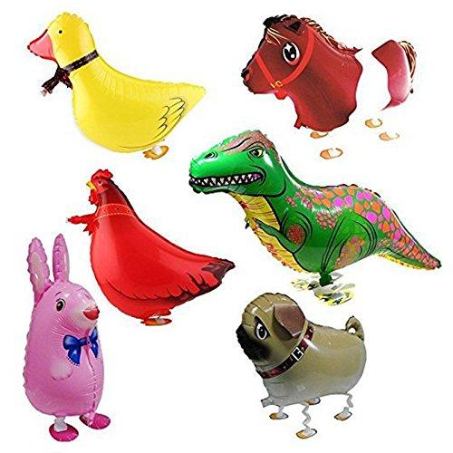 バルーン,SODIAL(R) 6xウォーキング動物バルーン 誕生日パーティーの装飾 子供のギフト ウサギ、恐竜、馬、アヒル、鶏、ペキニーズを含めて