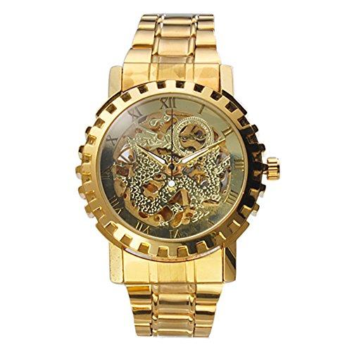 Gute出品 スケルトン メッキ 全ゴールデン ステンレスバンド 見栄がよく 重くない ゴージャス 立派 激安い アクセサリー メンズ 自動巻き腕時計