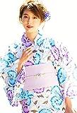 (ディータ)DITA 2017年デザイン 選べる10柄 本格女性浴衣 すぐにお出かけできるフルセット 浴衣本体(ゆかた)・帯(つくりおび)・下駄(ゲタ)・着付けスタイルブック(冊子)の4点セット FREE(フリーサイズ)【Type:2】