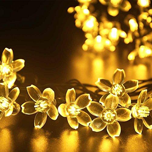 RoomClip商品情報 - (リーダーテク)lederTEK ソーラー 防雨防水型 電球色 桃花形電飾 イルミネーション LED 6.4m 50球 8点滅モデル クリスマス ライト 新年 飾り付け