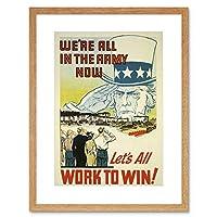 Propaganda WWII War USA Uncle Sam Army Work Win Framed Wall Art Print 宣伝第二次世界大戦戦争アメリカ合衆国叔父軍作業壁