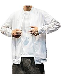 Mirroryou ブルゾン メンズ 長袖 日焼け止め服 ジャケット スタジャン アウター 上着 メッシュ カジュアル おしゃれ 通気速乾 大きいサイズあり M-5XL 着心地抜群 全2色