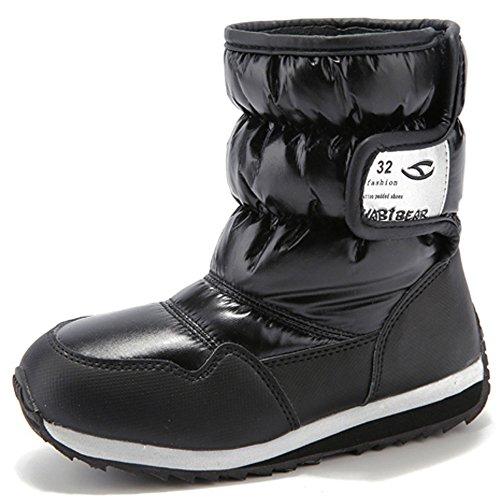 (ラクエスト)Laquest 内側がボアで暖かい スノーブーツ 雪遊び 防水 防寒 長靴 男女 キッズ ジュニア (26, ブラック)