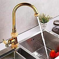 ヨーロッパのすべての銅アンティーク洗面器の蛇口の水の蛇口タップを回転ヒスイ金台所の蛇口ホットとコールドの野菜流域、金A