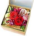 花由 ボックスフラワー 和風hana cube 謹製-金箱入り 寿レッド プリザーブドフラワー 日時指定便