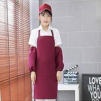 腰の韓国語版 エプロン,キッチン レストラン 鍋料理レストラン 作業着 丈夫で快適 調整可能-ワインレッド-ぶら下がっている首10ストリップローディング