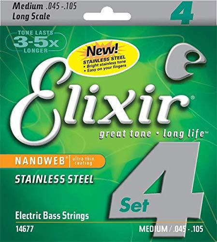 Elixir エリクサー ベース弦 NANOWEB ステンレス Long Scale Light/Medium .045-.105#14677 【国内正規品】