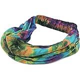 Casualbox | Tie-Dye Hippie Headband | Elastic Bandana | Head Cover Wrap for Men & Women | Psychedelic Flower Pattern | 60's 70's Retro Bohemian Boho