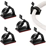 100 Pcs Self Adhesive Cable Management Clips, SOULWIT Adjustable Cable Organizers Sticky Wire Clips Cord Holder for TV PC Lap