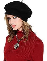 シック100 %ウール冬暖かいクラシックFrenchベレー帽ビーニー帽子キャップレディースガールズ – ソリッドカラー