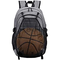 LYCSIX66 Canvas Basketball Laptop Backpack with USB Charging Port - Water Resistant Lightweight College School Book Bag - Slim Travel Backpack for 15.6 Inch Laptop (Gray)