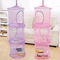 1個子供のおもちゃの収納袋のネットは、多層の収納檻の吊り吊りバスケット (パープル)