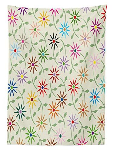 花柄テーブルクロスby Ambesonne、抽象カラフルグラフィックFlowers with Leaves繰り返しパターンBotanic Gardenアート、ダイニングルームキッチン長方形テーブルカバー、マルチカラー 52