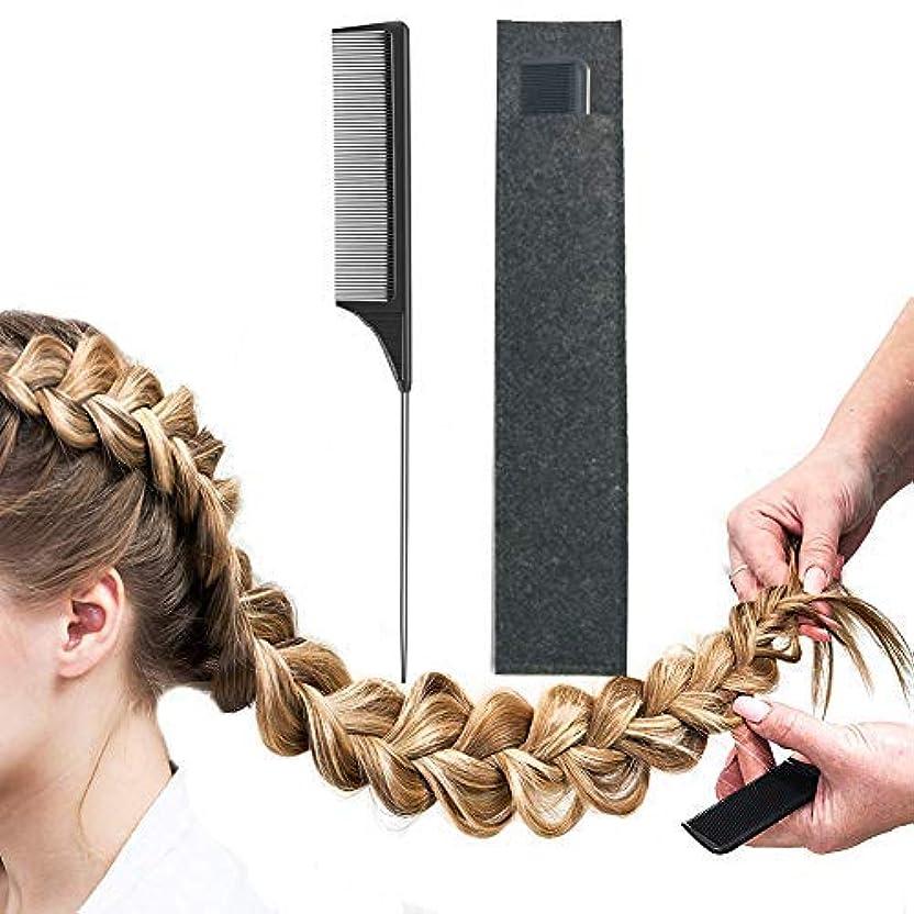 打撃政権散るPintail Comb Carbon Fiber And Heat Resistant Teasing HairTail Combs Metal With Non-skid Paddle For Hair Styling...