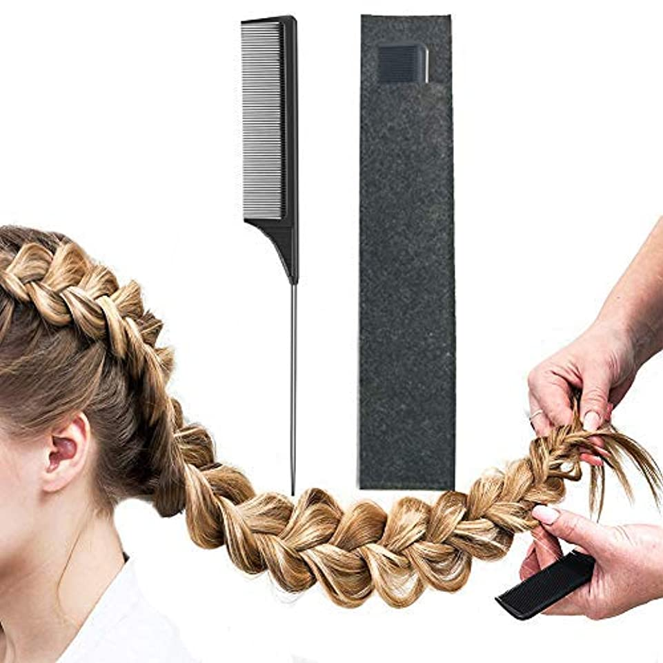 Pintail Comb Carbon Fiber And Heat Resistant Teasing HairTail Combs Metal With Non-skid Paddle For Hair Styling...