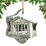 Weekinoアルバニアアポロニアフィアークリスマスオーナメントクリスマスツリーペンダントデコレーション旅行お土産コレクション陶器両面デザイン3インチ