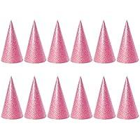 NUOLUX 12pcsゴールドCone Hats Glitter三角形誕生日パーティー帽子の子供と大人 2.56 x 2.56 x 3.93 inch ピンク 58T28QS6V0X20DOCQ117Z1YLQ