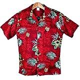メンズアロハシャツ ディープレッド地/葉・花柄アロハシャツ ハワイ仕入 大きいサイズ有 (US L)