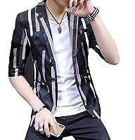 Nicellyer メンズパターン3 / 4スリーブカジュアルファッションモダンブレザージャケットコート Black L