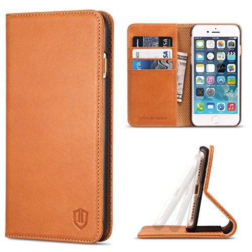 iPhone7 ケース SHIELDON アイフォン7手帳型ケース 本革カバー カードポケット スタンド機能付き マグネット式 レトロブラウン