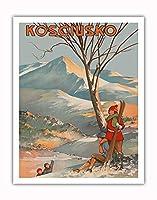 マウント Kosciuszko、オーストラリア - スキー - ビンテージな世界旅行のポスター によって作成された Geo. E. (ジョージ・アーネスト) アキンヘッド c.1925 - アートポスター - 28cm x 36cm