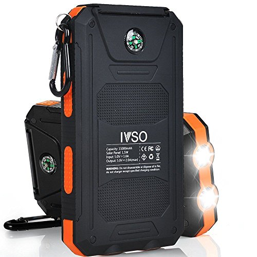 【IVSO】11000mAhソーラー充電器 サンパワーパネルパワーバンク 防水 防塵 耐衝撃 デュアルLEDライト コンパス機能付き  USBケーブル+フック付き (オレンジ)