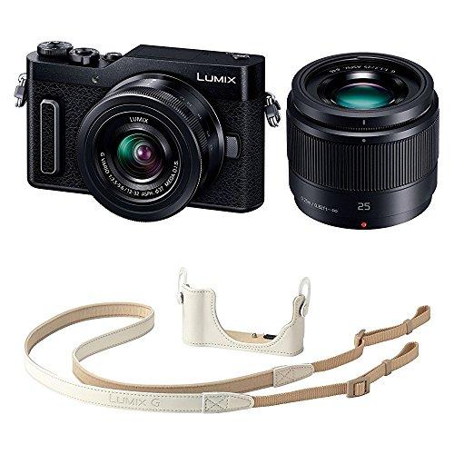 Panasonic ミラーレス一眼カメラ ルミックス GF90 ダブルレンズキット ブラック DC-GF90W-K + ボディケースストラップキット ホワイト DMW-BCSK8-W セット