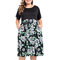 NUONITA Women's Plus Size Dresses Round Neck Floral Print Dress Pockets