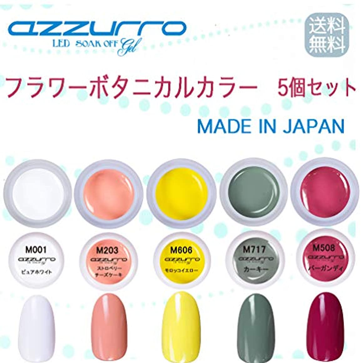 毎月ライブ十一【送料無料】日本製 azzurro gel フラワーボタニカルカラージェル5個セット 春にピッタリでかわいいフラワーアートにピッタリなカラー