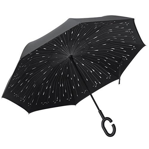 PLEMO 長傘 逆さ傘 逆折り式傘 手離れC型手元 耐風傘 撥水加工 ビジネス用車用 雨の雫 ブラック (124センチ)