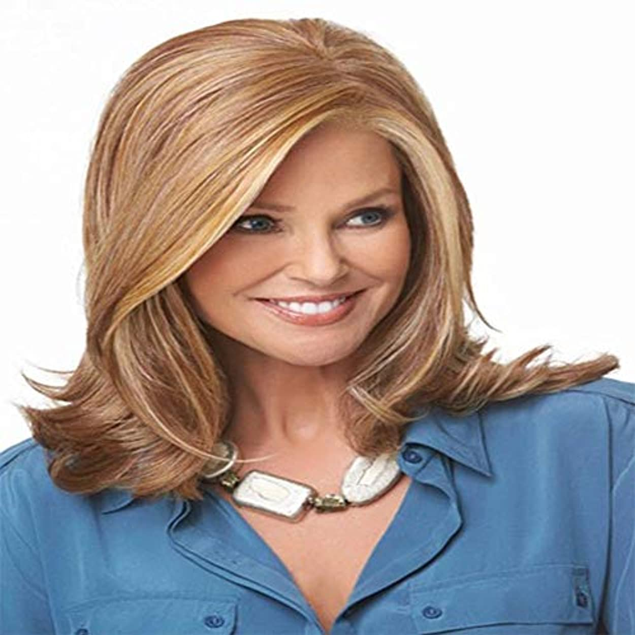 ローブひまわり請求可能白人女性のための中間の長さカーリー女性の女の子の魅力的な人工毛ウィッグ耐熱性繊維コスプレウィッグ