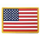 """3"""" x 2""""アメリカ国旗PVCパッチwith Velcro–レッドホワイト&ブルーゴールドBorder–USAフラグパッチUnited States of America Military Uniform TacticalジャケットMilsimハット–ソフトゴムEmblem–フック&ループ"""