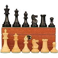 British Stauntonチェスセットin Ebonized Boxwood & Boxwood withマホガニーボックス – 3.5