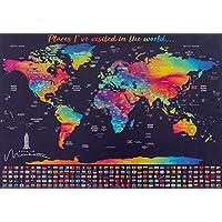 Scratch Off Map of the World。Personalizedスクラッチマップ。一意Scratch Off Map。簡単Scratchableワールドマップ。Includes国フラグと傷ツール。米国/カナダStates。
