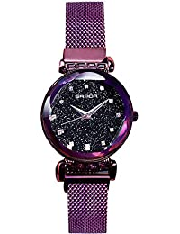 RORIOS 腕時計 レディース クリスタル 星空 キラキラ アナログ時計 磁気メッシュストラップ クォーツ ウォッチ パープル