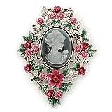 ピンク/グリーン花柄カメオブローチinシルバートーン–70mm L